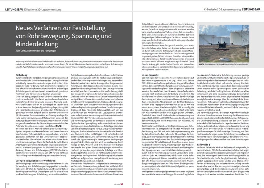 Kostenfreier Fachbericht: Neues Verfahren zur Feststellung von Rohrbewegung, Spannung und  Minderdeckung